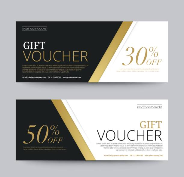 gift voucher template promotion sale discount, gold background, vector illustration - tickets and vouchers templates stock illustrations