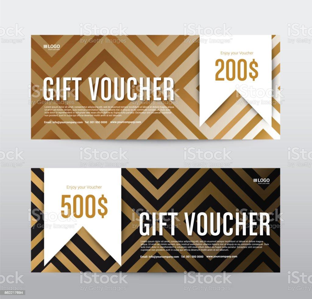 Remise de cadeau bon modèle Promotion vente, fond or, illustration vectorielle - Illustration vectorielle