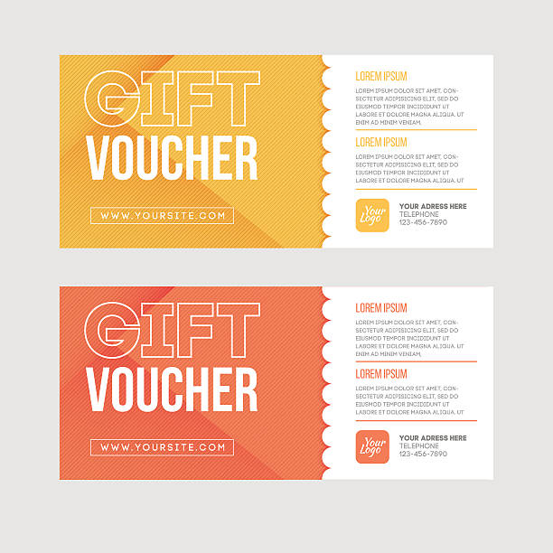 Gift voucher template set. Two gift cards design. Gift voucher template set. Two gift cards design.Gift or discount voucher template with modern design, special offer or certificate coupon coupon stock illustrations