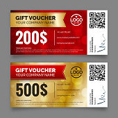 Gift voucher template, vector graphic design