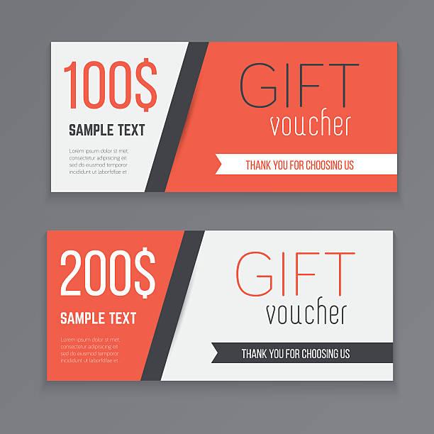 stockillustraties, clipart, cartoons en iconen met gift voucher template. - birthday gift voucher