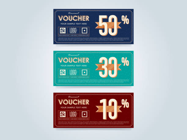 Gift voucher template, vector layout Gift discount voucher template, vector layout. Special offer coupon. Business voucher layout. coupon stock illustrations
