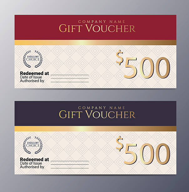 Gift voucher template with colorful pattern template Gift voucher template with colorful pattern ,classic premium style vector illustration banking borders stock illustrations