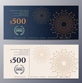 Gift voucher template with colorful pattern and ethnic element,classic premium style vector illustration