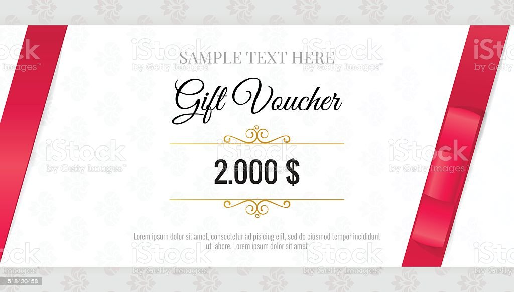 Gift voucher template anniversary gift certificate with a picture gift voucher template with floral pattern and red bow ribbons stock yadclub Images