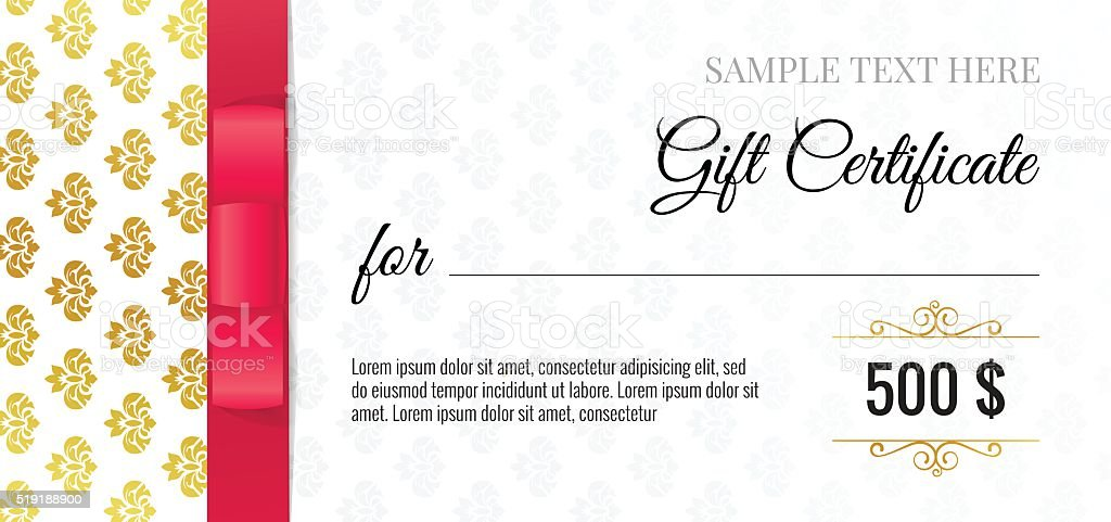 Gift Voucher Template With Floral Pattern And Red Bow Ribbons Stock