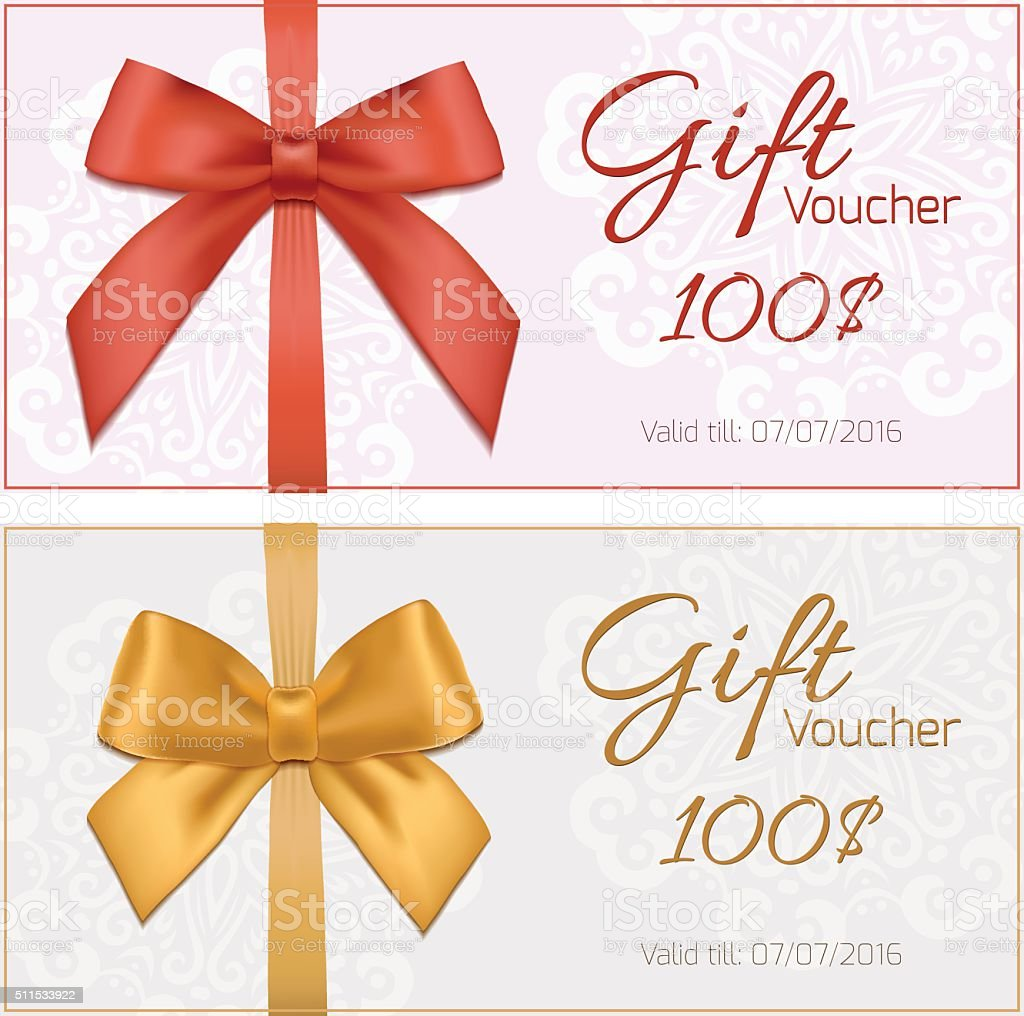 Gift Voucher Template With Floral Pattern, Red And Gold Bow Royalty Free Gift  Voucher  Present Voucher Template