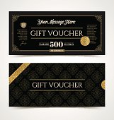 Gift voucher template with glitter gold