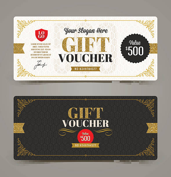 gift voucher template with glitter gold, vector illustration. - tickets and vouchers templates stock illustrations