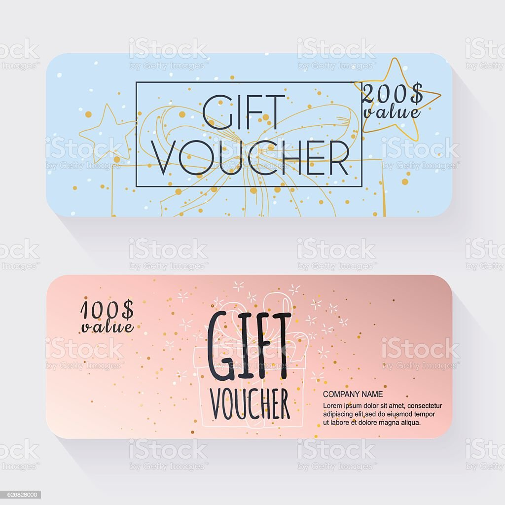 Gift Voucher Template With Gold Gift Box Gift Certificate Back Stock