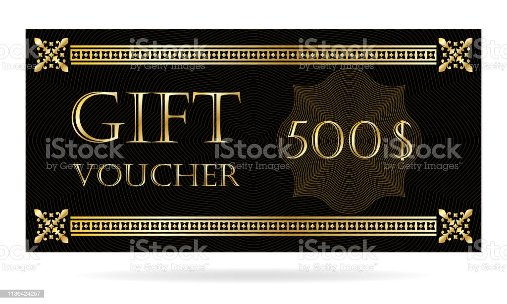Gift Voucher Template With Golden Border Design Elements For
