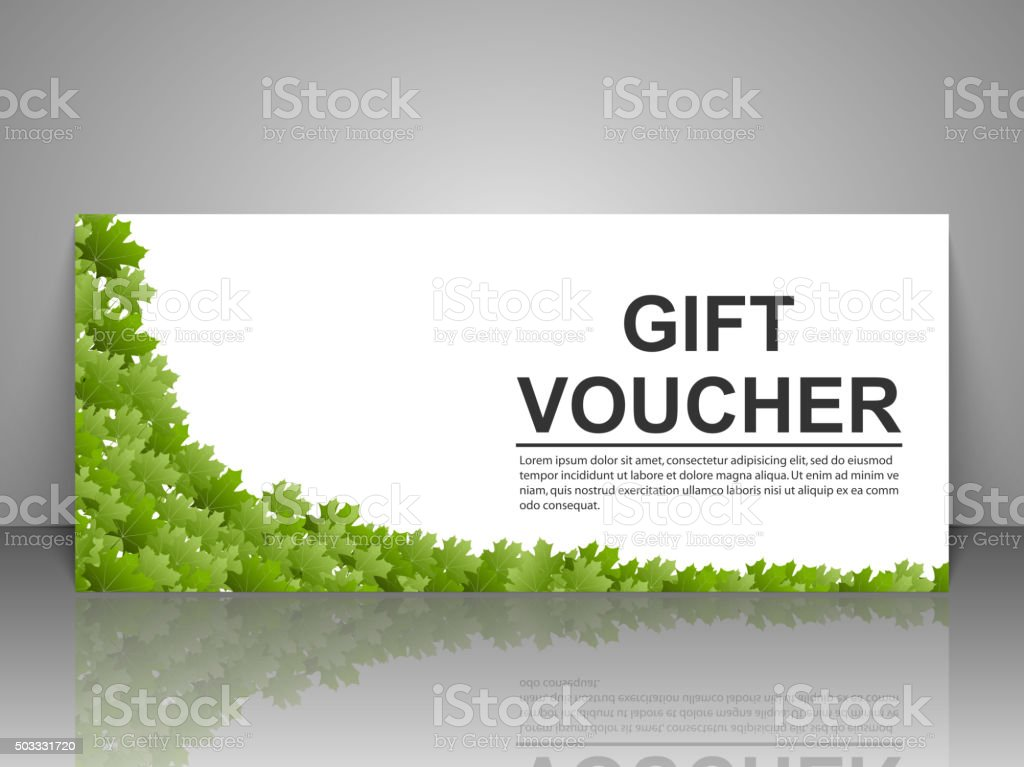 Gift voucher template with green leaves on a white for Hotel voucher design