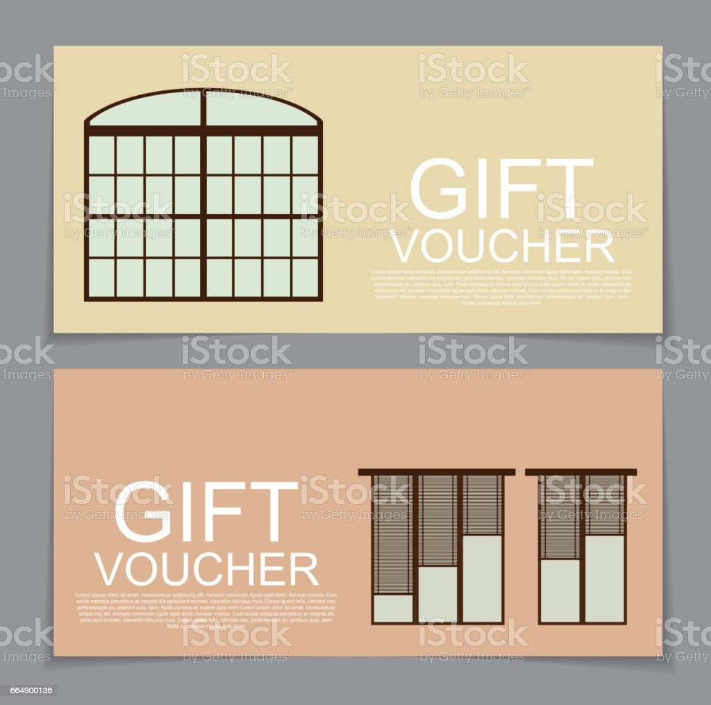 gift voucher template with variation of windows discount coupon