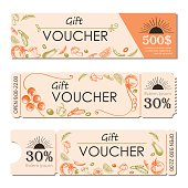 orange and green  voucher discout template design promotion to customer vector illustration