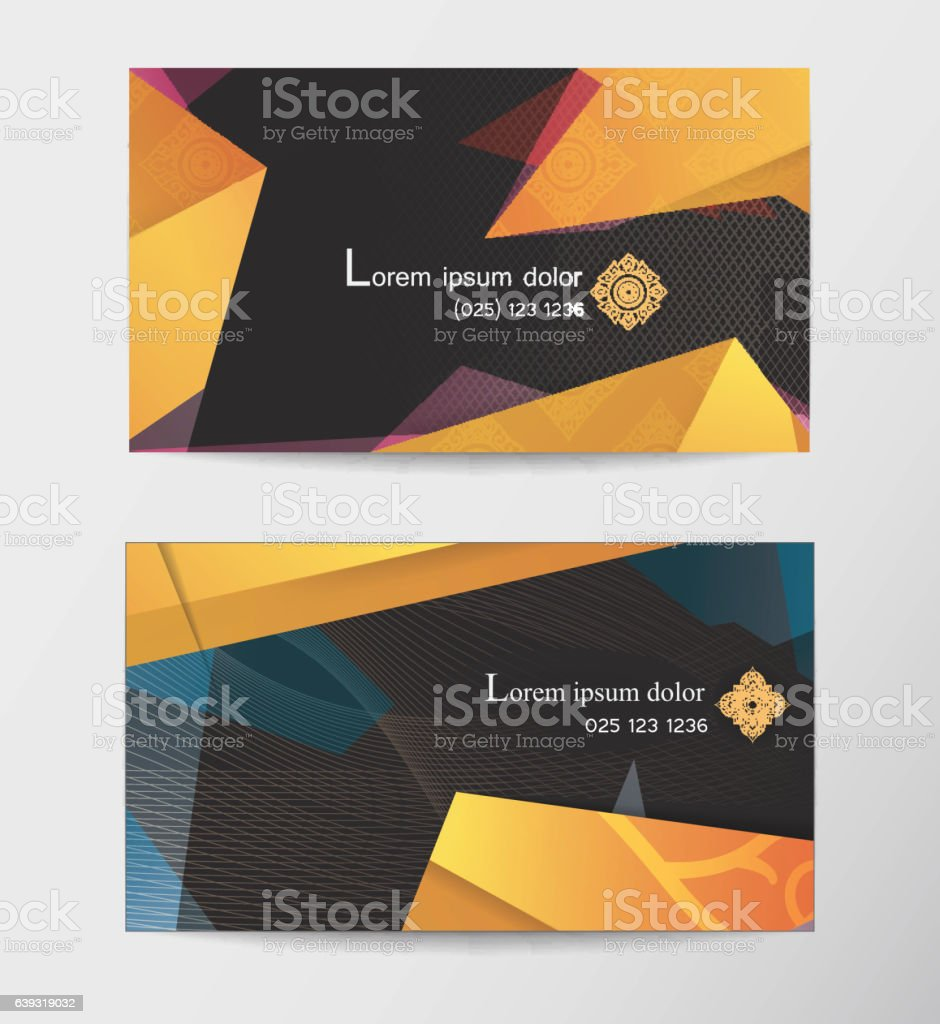 Gift Voucher Two Cards Pattern Thai Business Card Stock Illustration Download Image Now Istock