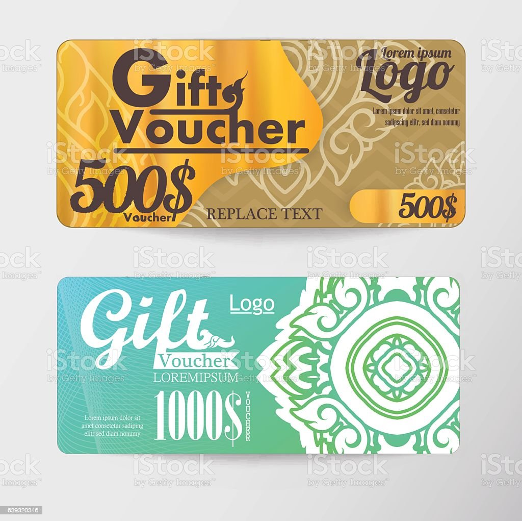 Gift voucher two cards pattern thai business card stock vector art gift voucher two cards pattern thai business card royalty free gift voucher two cards pattern yadclub Gallery