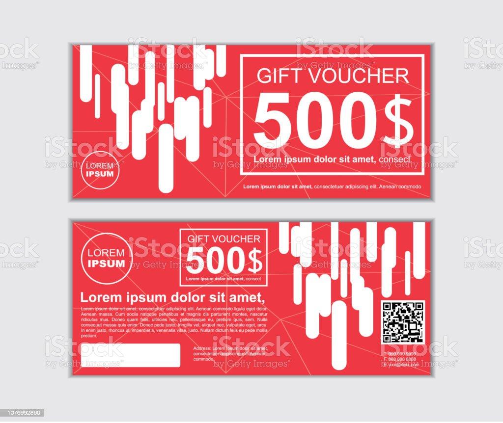 Gift Voucher Vector Design Template Set Stock Illustration