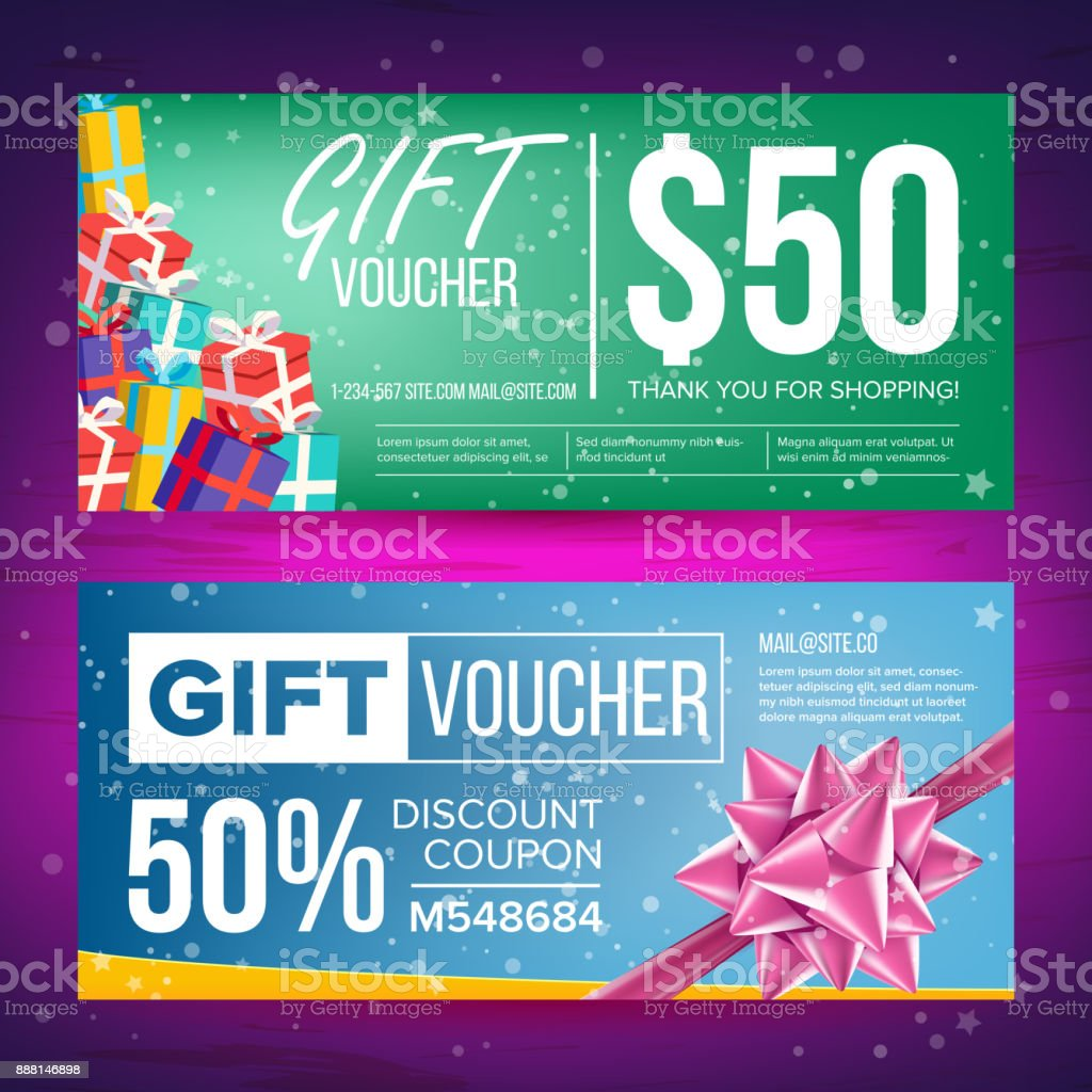 gift voucher vector horizontal coupon design concept for gift coupon
