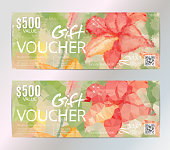 Gift voucher vector set beauty watercolor silver background. VIP backdrop