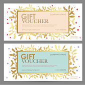 Festive gift coupon of pastel colors. Vector layout for gift card, coupon and certificate for a spa, beauty salon, shops, cosmetics and restaurants