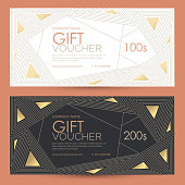 Festive gift coupon with an abstract pattern of polygons Vector template for gift card, coupon and certificate for a spa, beauty salon, shops and restaurants