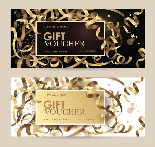 gift voucher with gold ribbons, serpentine and glitter. christmas gift certificate. - prezent na urodziny stock illustrations