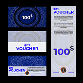 Gift voucher with mandala template. promotion card, Coupon design. Premium, check.