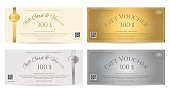 Elegant gift voucher or gift card in gold and silver tone