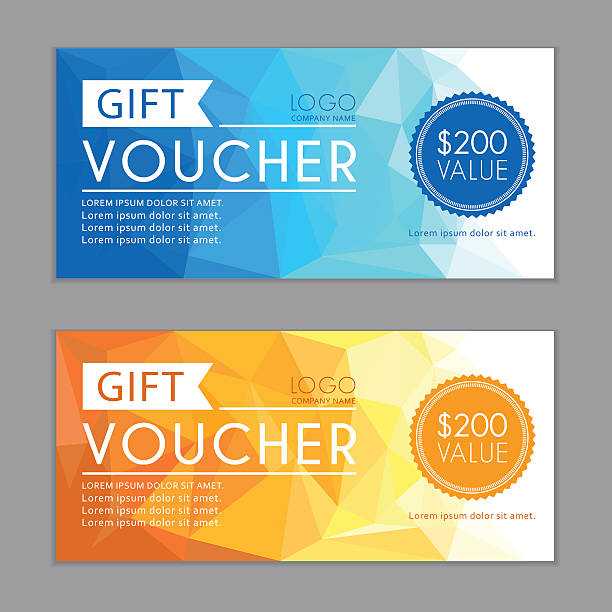 gift vouchers template. bleed size in in proportion 214x99 mm. - coupon stock illustrations, clip art, cartoons, & icons