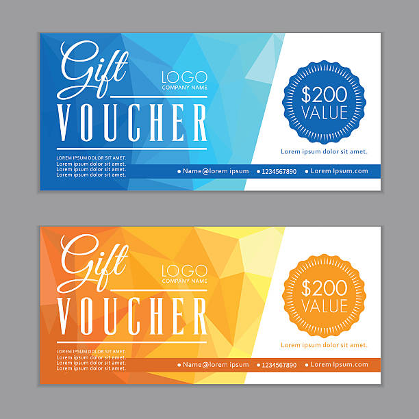 Gift Vouchers Template. Bleed Size in in proportion 214x99 mm. Vector illustration of the gift vouchers template. Bleed Size in in proportion 214x99 mm. coupon stock illustrations