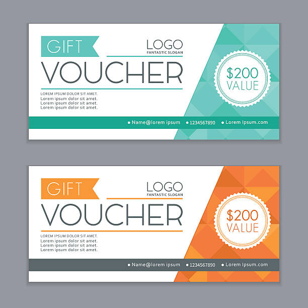 gift vouchers template - coupon stock illustrations, clip art, cartoons, & icons