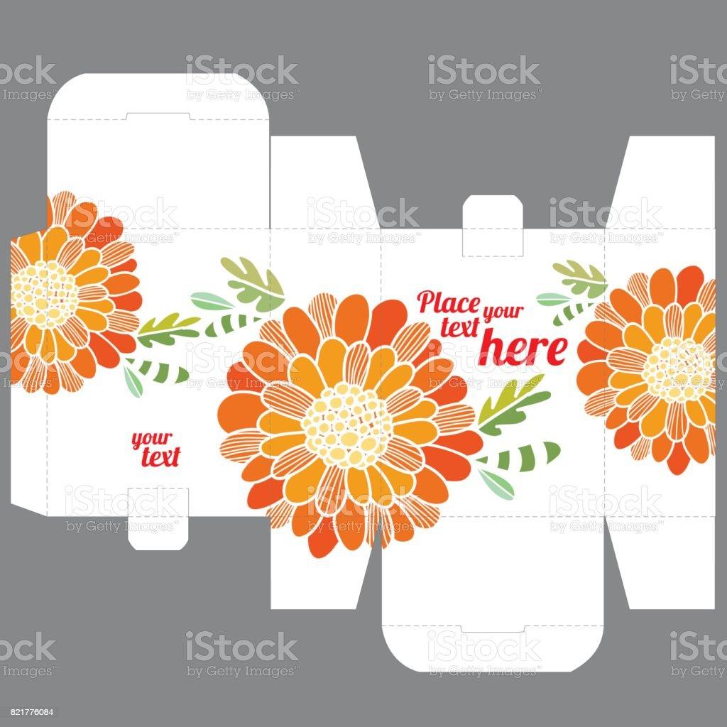 Geschenk Hochzeit Gunst Box Designvorlage Mit Naturmuster Stock