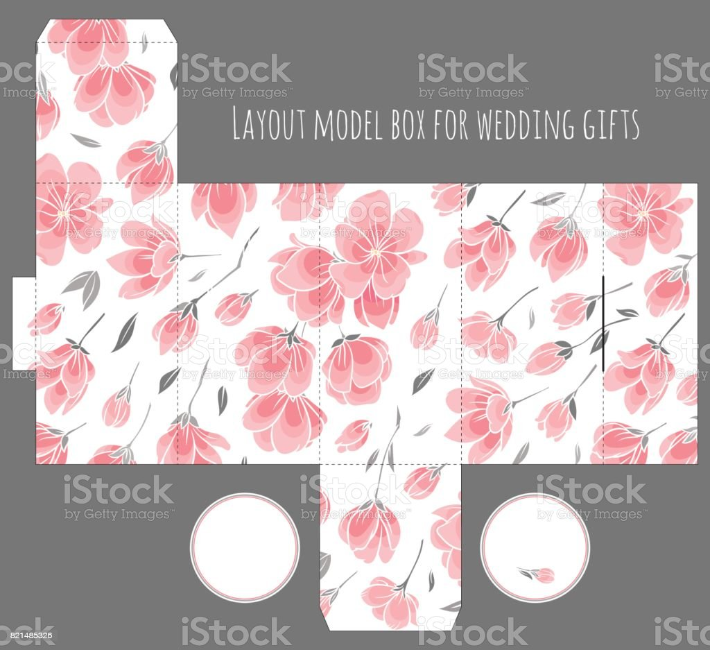 Gift Wedding Favor Box Template With Nature Pattern Stock Vector Art ...