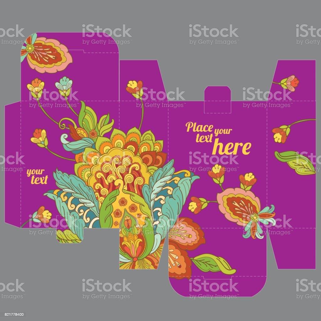 Geschenk Hochzeit Gunst Feld Vorlage Mit Orientalischen Blumenmuster