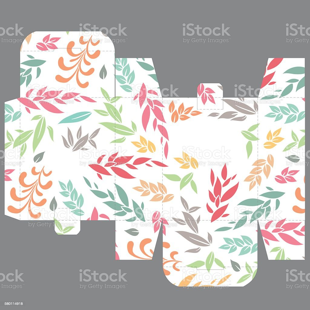 gift wedding favor die box design template with nature pattern の
