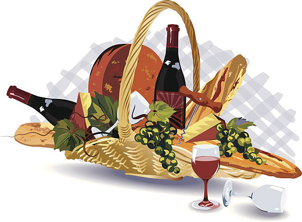 Gift Wicker Basket Filled with Breads, Wine, Cheese & Fruits vector art illustration