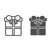 Gift with bow line and solid icon. Christmas present box outline style pictogram on white background. New Year holiday giftbox for mobile concept and web design. Vector graphics