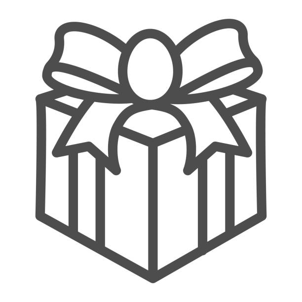 Gift with bow line icon, Christmas concept, Giftbox sign on white background, Holiday Gift Box icon in outline style for mobile concept and web design. Vector graphics. Gift with bow line icon, Christmas concept, Giftbox sign on white background, Holiday Gift Box icon in outline style for mobile concept and web design. Vector graphics anniversary clipart stock illustrations