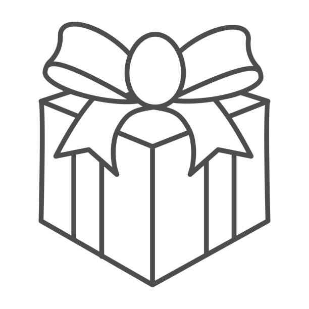 Gift with bow thin line icon, Christmas concept, Giftbox sign on white background, Holiday Gift Box icon in outline style for mobile concept and web design. Vector graphics. Gift with bow thin line icon, Christmas concept, Giftbox sign on white background, Holiday Gift Box icon in outline style for mobile concept and web design. Vector graphics anniversary clipart stock illustrations