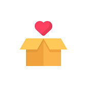 Gift with Heart Shape Flat Icon. Pixel Perfect. For Mobile and Web.