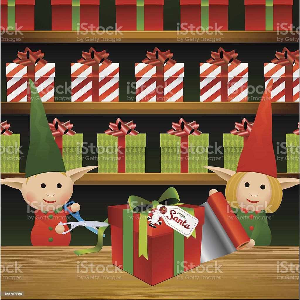 Emballage cadeau d'Elves - Illustration vectorielle
