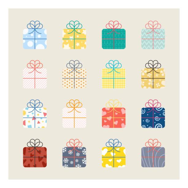 stockillustraties, clipart, cartoons en iconen met giftbox-pictogrammen - verjaardagskado