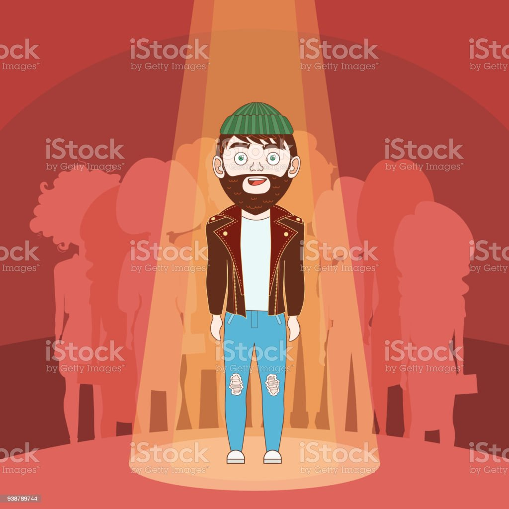 Gifted Hipster Man Standing In Spotlight Over Silhouette People Background vector art illustration