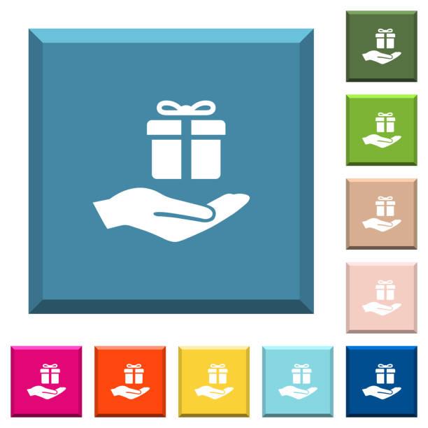 gifting weiße symbole auf scharfkantigen quadratische buttons - swag stock-grafiken, -clipart, -cartoons und -symbole
