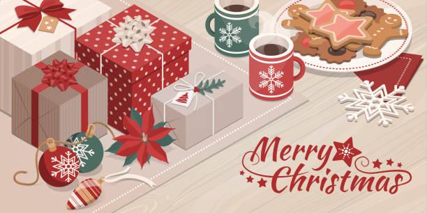 ilustrações de stock, clip art, desenhos animados e ícones de gifts and christmas decorations on a table - christmas table
