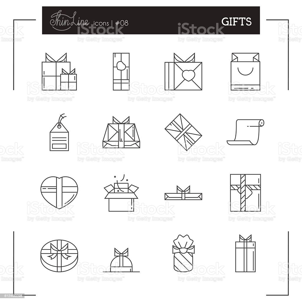 Gifts and Holiday Packaging more thin line icons set. vector art illustration
