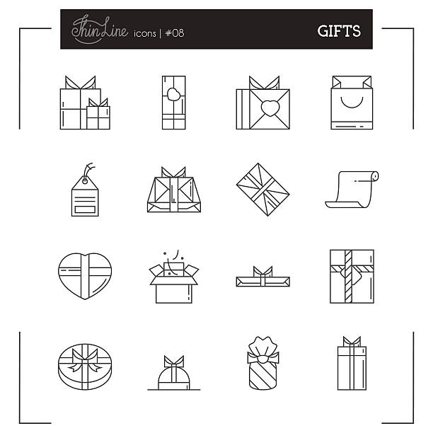 gifts and holiday packaging more thin line icons set. - aluminum foil roll stock illustrations, clip art, cartoons, & icons