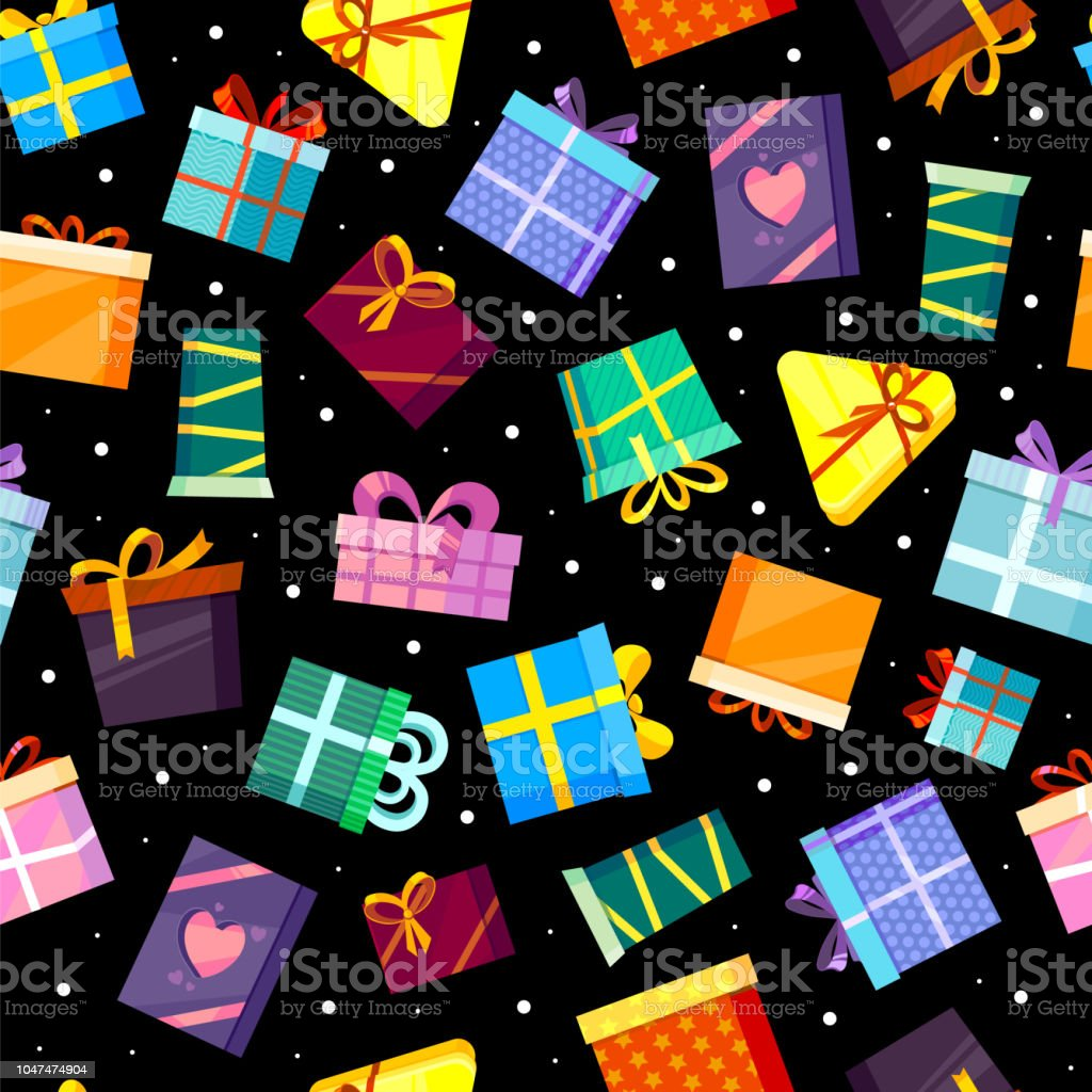 Gifts Boxes Pattern Colored Xmas Valentine And Other