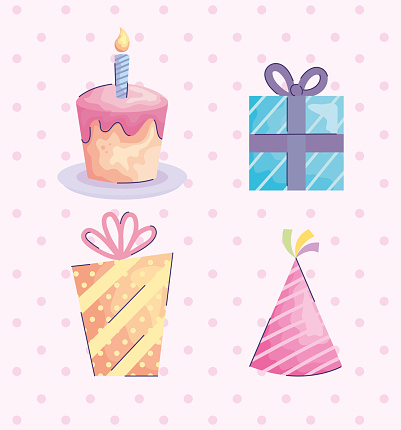 gifts boxes presents and hat with cupcake acuarela birthday icons
