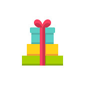Gifts Flat Icon. Pixel Perfect. For Mobile and Web.